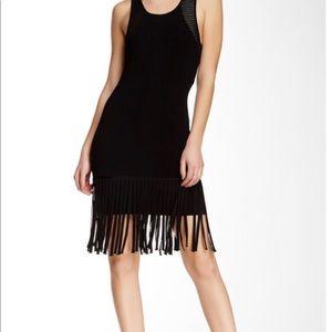 Shoshanna black fringe dress